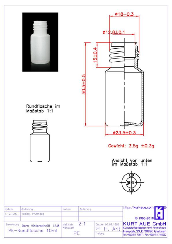 Rundflasche 10ml P18-12,8