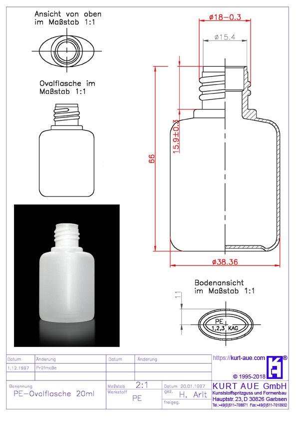 Ovalflasche 20ml P18