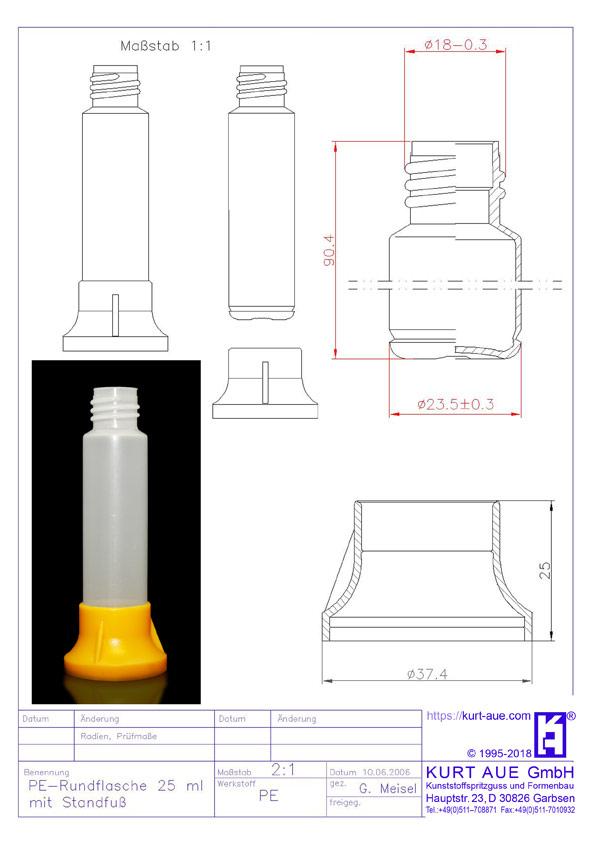 Rundflasche 25ml mit Standfuss