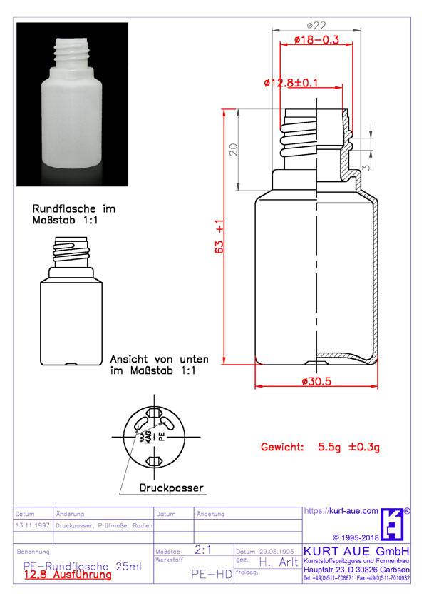 Rundflasche 25ml P18-12,8