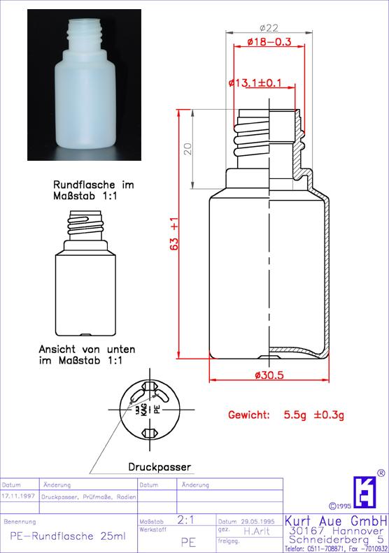 Rundflasche 25ml P18-13,25