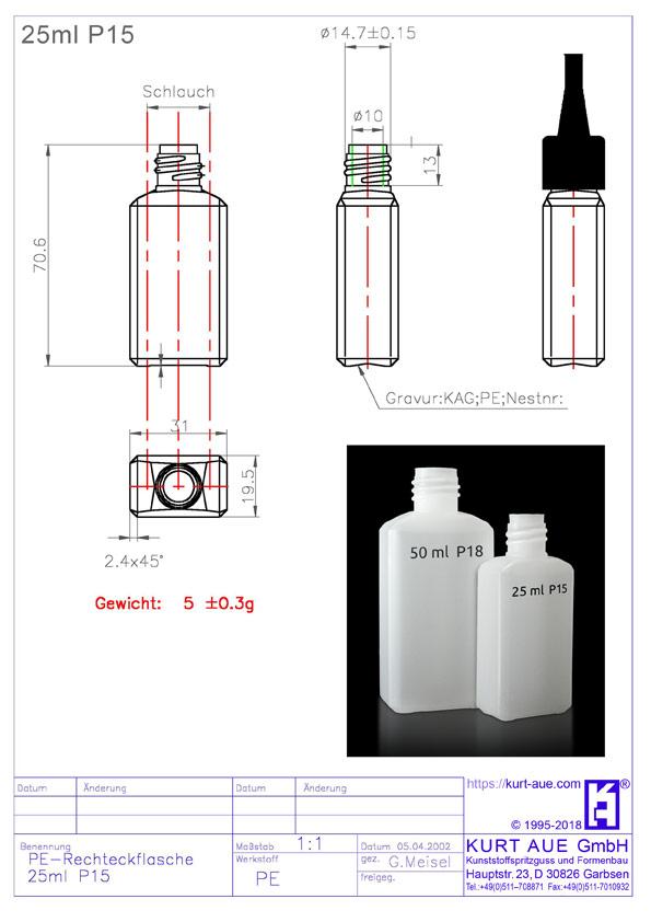 Rechteckflasche 25ml P15