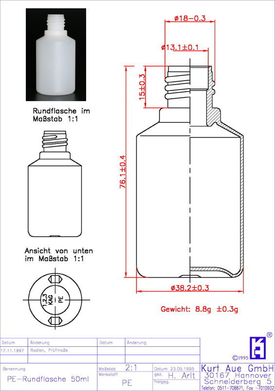 Rundflasche 50ml P18-13,25