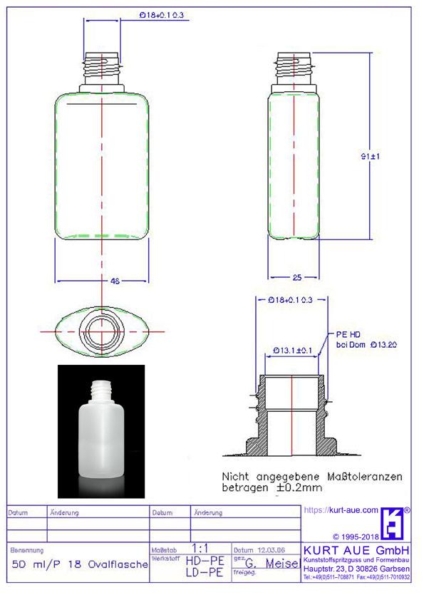 Ovalflasche 50ml P18