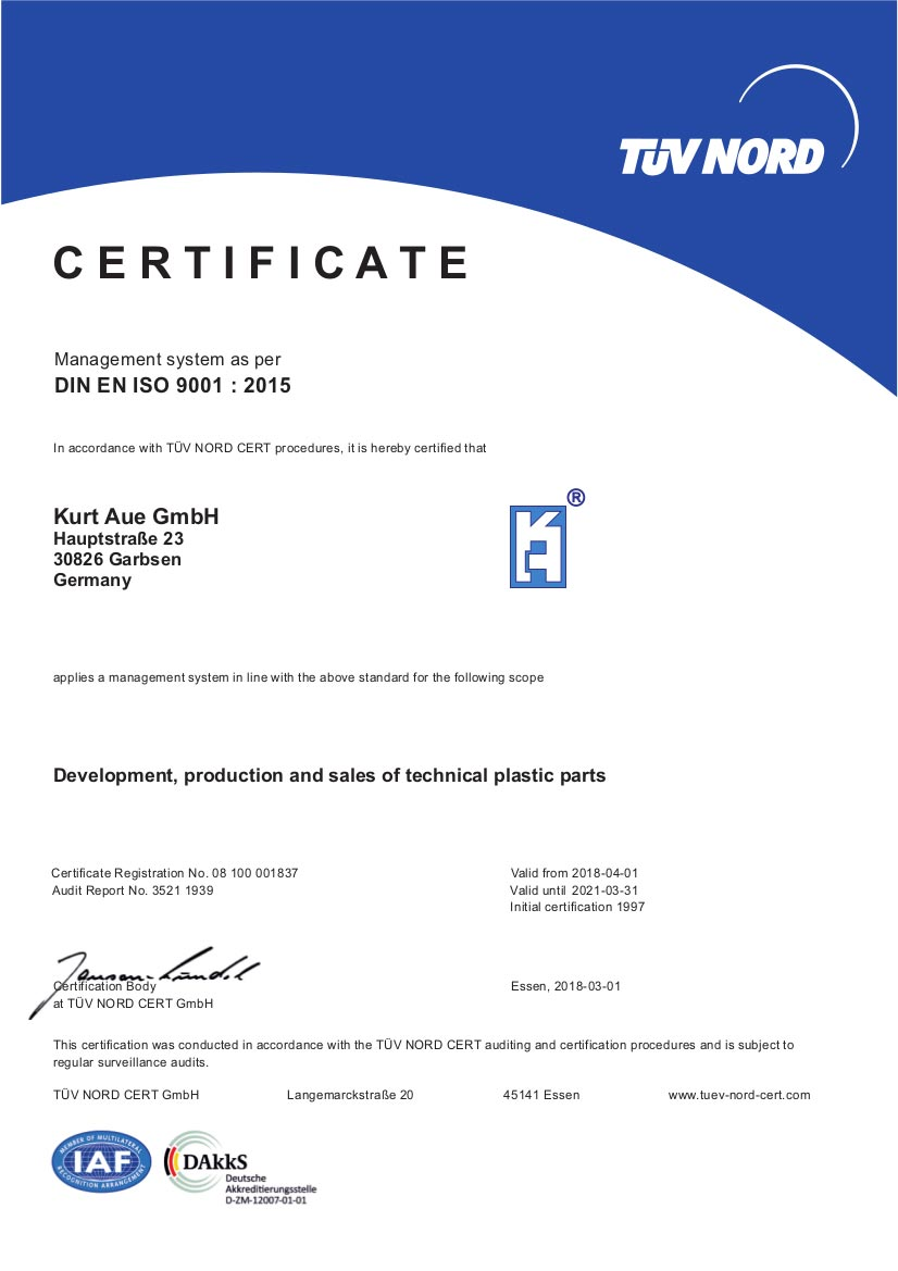 Certification DIN ISO 9001