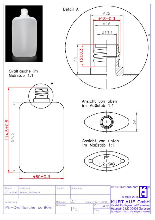Ovalflasche 90ml