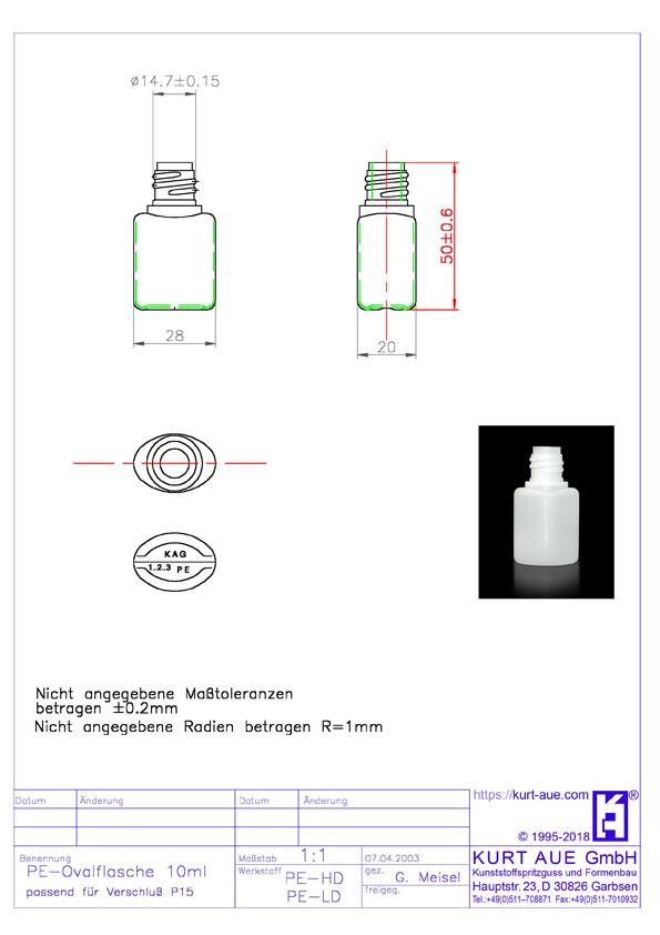 Ovalflasche 10ml P15