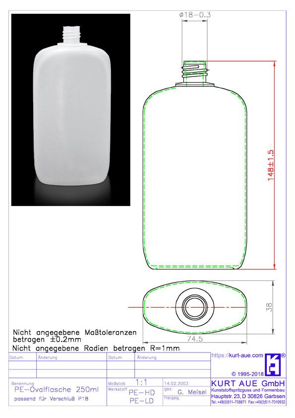 Ovalflasche 250ml